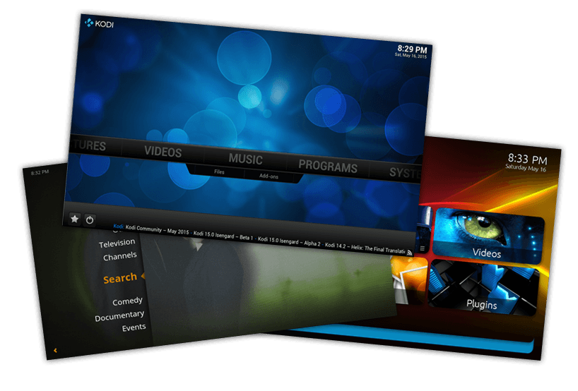 The three media center applications to run on the home theatre PC; Plex, MediaPortal and Kodi.