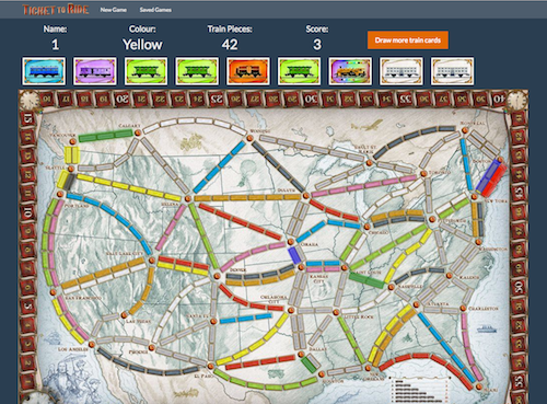 A screenshot of my Rails Ticket to Ride game's board.