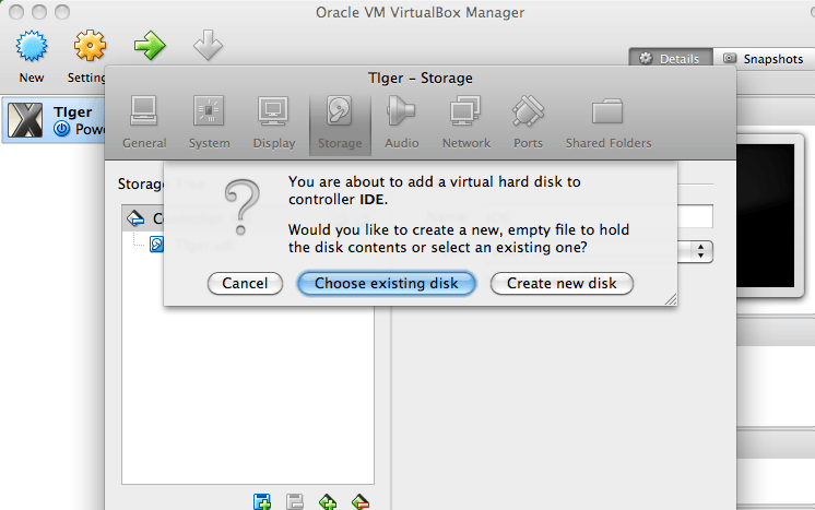 Add Hard Disk menu options